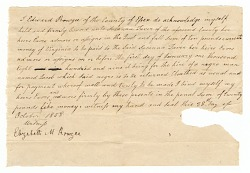 Bond for the hire of the enslaved man Jacob by Edward Rouzee