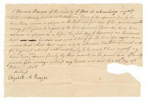 Image for Bond for the hire of the enslaved man Jacob by Edward Rouzee