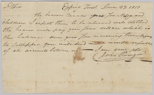 Image for Agreement regarding hiring of enslaved woman Nelly and her children