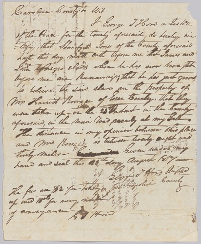 Image for Affidavit of apprehension of James and John, property of Harriot Rouzee