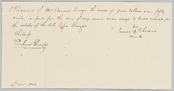 Payment receipt for hire of an enslaved man to the estate of John Rouzee