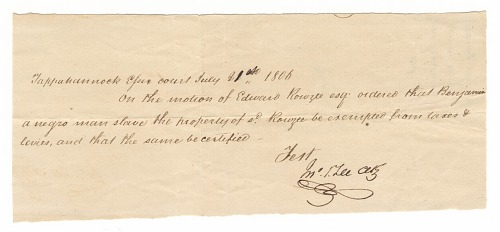 Image for Document for tax exemption of the enslaved man Benjamin, owned by Edward Rouzee