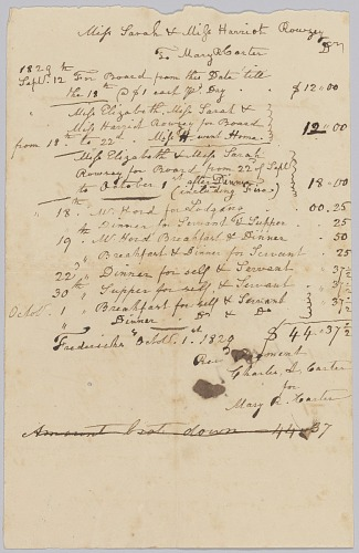 Image for Invoice and receipt for room and board of Sarah and Harriet Rouzee and