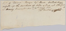 Bill of sale for the purchase of 'Old Ned' by Edward Rouzee