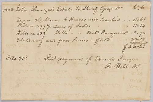 Image for Record of taxes on property, including enslaved persons, owned by John Rouzee