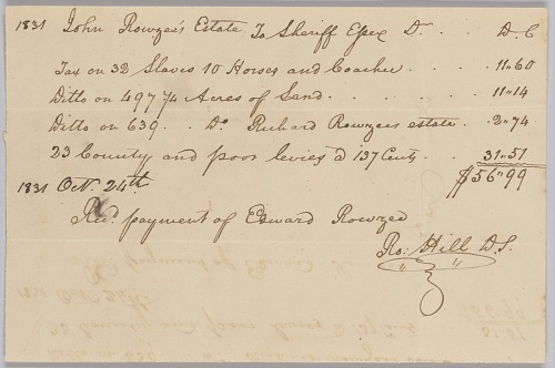 Image for Account of taxable property, including enslaved persons, owned by John Rouzee