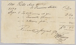 """Receipt for """"dinners, servants dinners, and horses fed"""" at the Farmers' Hotel"""