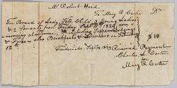 Payment receipt for room and board provided by Mary R. Carter