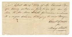 Payment receipt for the hire of a woman enslaved and owned by Edward Rouzee