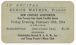 Promotional card for a piano recital given by Eunice Waymon (Nina Simone)