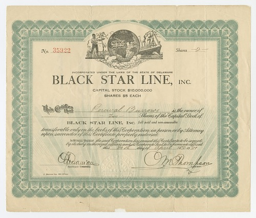 Image for Stock certificate issued by Black Star Line to Percival L. Burrows