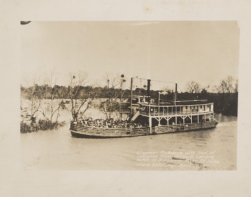 Image for Steamer Vicksburg with Load of Refugees from Hollands Landing Taken in Sunflower River 55 Miles Above Vicksburg - April 1927
