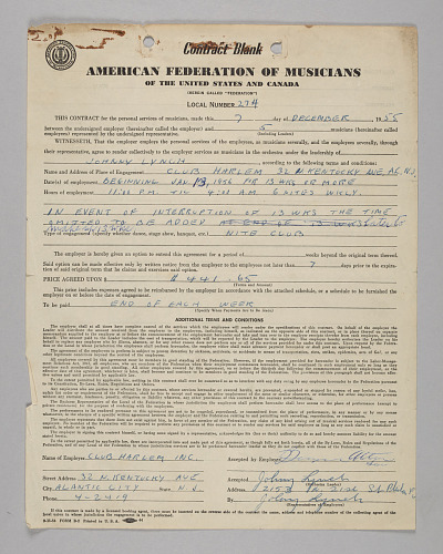 Image for Business contract between Club Harlem and Johnny Lynch
