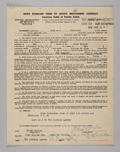 Image for Business contract between Club Harlem and Flash Gordon