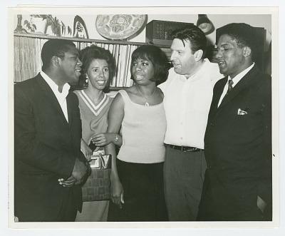 Photograph of McDew, Hansberry, Simone, Bikel, and Forman