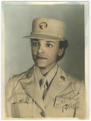 Hand tinted portrait of Pauline C. Cookman in uniform