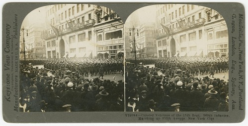 Image for V19244--Colored Veterans of the 15th Regt. 369th Infantry, Marching up Fifth Avenue, New York City