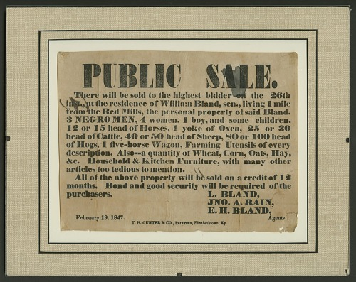 Image for Broadside for the sale of enslaved persons and other property of William Bland