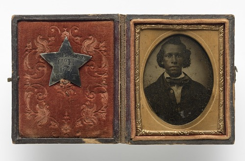 Image for Tintype of Creed Miller with star-shaped military identification pin