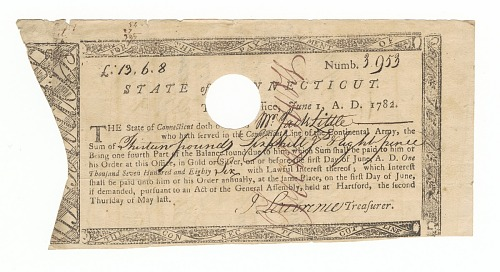 Image for Receipt for payment to Jack Little for his service in the Continental Army