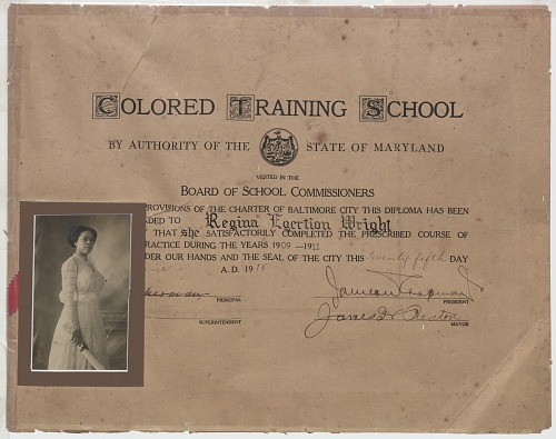 Image for Diploma issued to Regina Egertion Wright by the Colored Training School