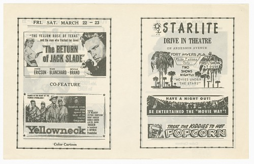 Image for Flier for the Starlite Drive In Theatre