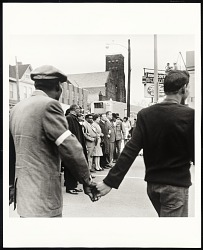 Bishop Jordan, AME Baptist Church, T. O. Jones, Head of Sanitation Workers, Walter Reuther, United Auto Workers, line up to lead protest march after death of Dr. Martin Luther King Jr., Memphis, TN, April 8, 1968
