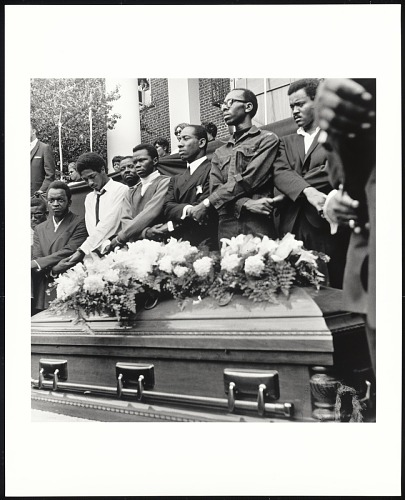 Image for SCLC pallbearers stand over casket of Dr. Martin Luther King Jr., at Morehouse College on April 12, 1968, Atlanta, GA