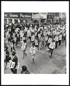 images for <I>Memorial March after assassination of Dr. Martin Luther King Jr., Main Street, Memphis, TN, April 8, 1968</I>-thumbnail 1