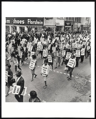 Image for Memorial March after assassination of Dr. Martin Luther King Jr., Main Street, Memphis, TN, April 8, 1968