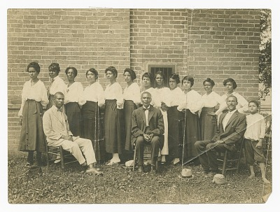 Photograph of Lucille Brown and Elder Brown among others