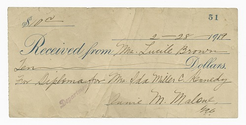 Image for Receipt for ten dollars from Lucille Brown
