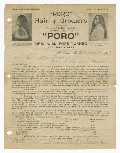 Image for Enrollment Certificate to Poro College for Lucille Brown
