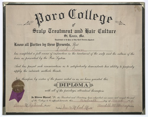 Image for Diploma issued to Lucille Brown from Poro College