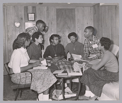 Photograph of seven of the Little Rock Nine meeting at the home of Daisy Bates
