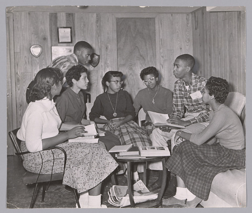 Image for Photograph of seven of the Little Rock Nine meeting at the home of Daisy Bates