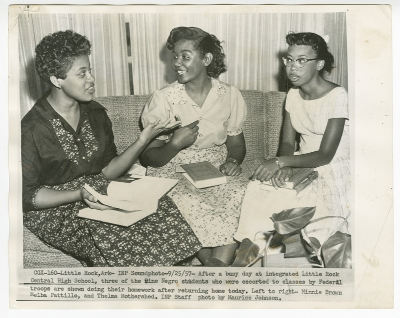 Image 1 for Copy photo of Minnie Brown, Melba Pattillo, and Thelma Mothershed doing homework