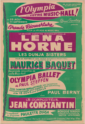Image for Poster for a Lena Horne performance at the Olympia Music Hall