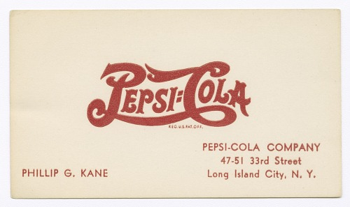Image for Business card for Pepsi-Cola employee Philip G. Kane
