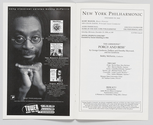 Image for Concert program for Porgy and Bess