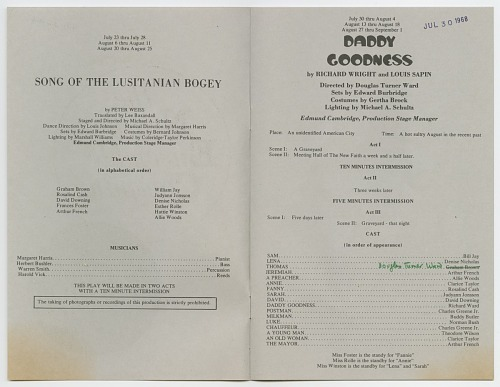 Image for Theatre program for Song of the Lusitanian Bogey and Daddy Goodness