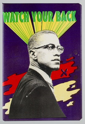 Pinback button of Malcolm X