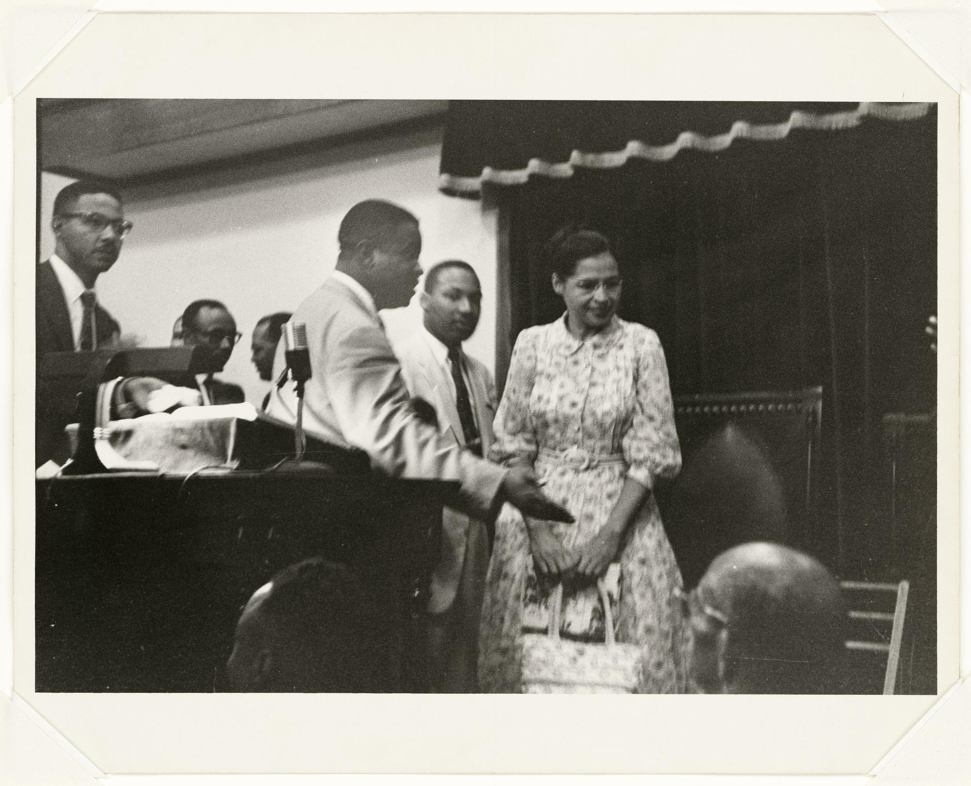 images for <I>Rosa Parks, Martin Luther King Jr., and Ralph Abernathy, Ebenezer Baptist Church During Bus Boycott</I>