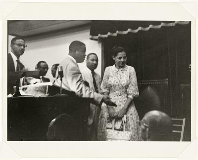 <I>Rosa Parks, Martin Luther King Jr., and Ralph Abernathy, Ebenezer Baptist Church During Bus Boycott</I>