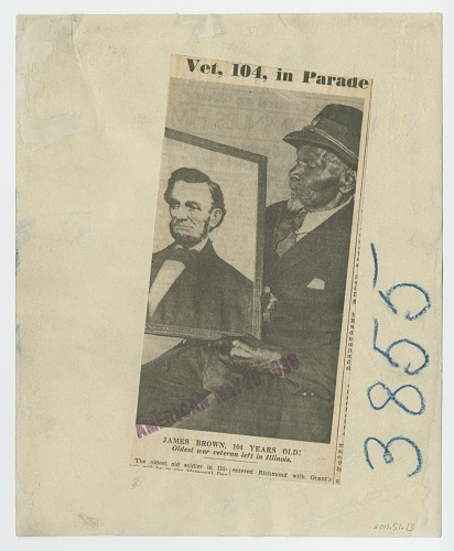 Image for Photograph of James Brown, Civil War veteran, with a picture of Abraham Lincoln