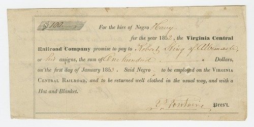 Image for Bond for the hire of enslaved man named Harry by the Virginia Central Railroad