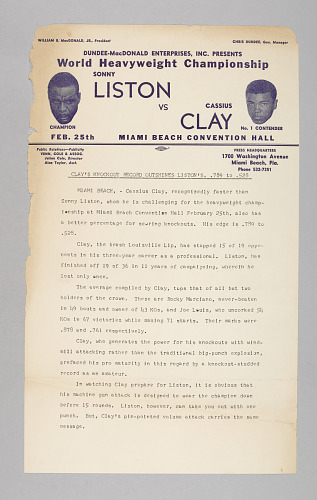 Image for Document comparing Clay and Liston's knock-out percentages