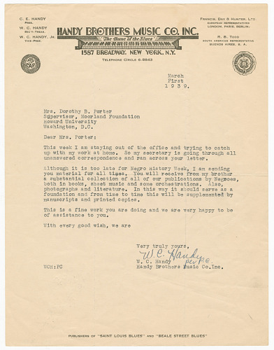 Image for Letter to Dorothy Porter from W.C. Handy