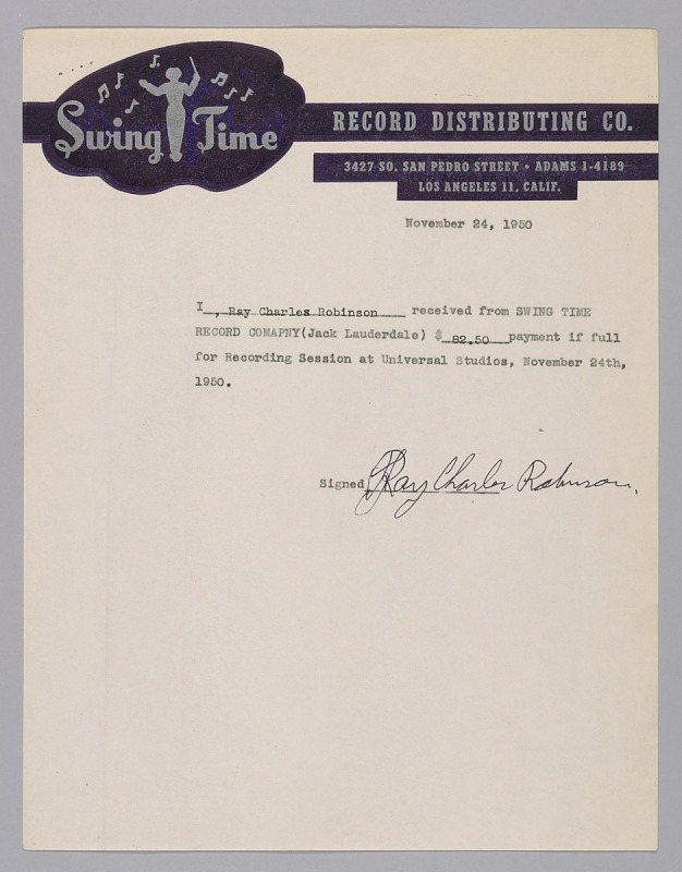 Image 1 for Receipt for payment for a recording session signed by Ray Charles