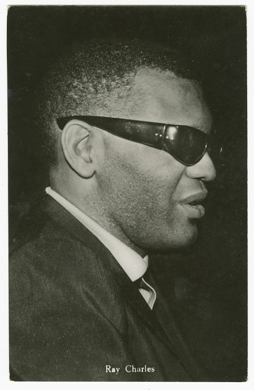 Image 1 for Photographic postcard featuring Ray Charles